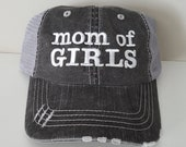 Mom of GIRLS Embroidered Hat with Choice of Thread Color