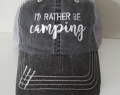 I'd Rather Be Custom Embroidered Hat with Choice of Words and Thread Color