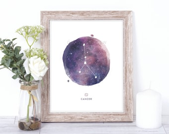 cancer print - watercolor constellation art print - cancer gift idea with color options - 8x10