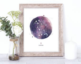 gemini print - watercolor constellation art print - gemini gift idea with color options - 8x10