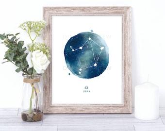 libra print - watercolor constellation art print - libra gift idea with color options - 8x10