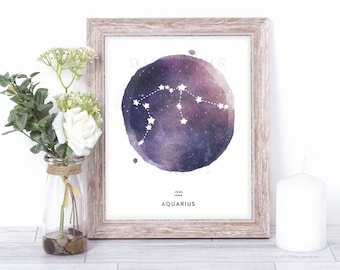aquarius print - watercolor constellation art print - aquarius gift idea with color options - 8x10