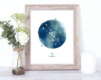 taurus print - watercolor constellation art print - taurus gift idea with color options - 8x10