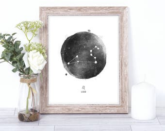 leo print - watercolor constellation art print - leo gift idea with color options - 8x10