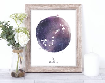 scorpio print - watercolor constellation art print - scorpio gift idea with color options - 8x10