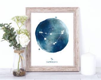 capricorn print - watercolor constellation art print - capricorn gift idea with color options - 8x10