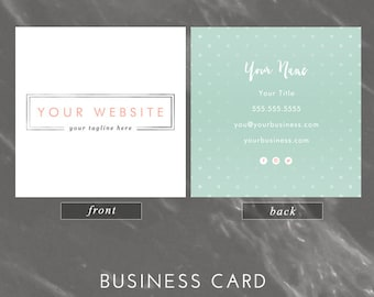 square business card design - simple silver, pink, & green - we design, you print with moo