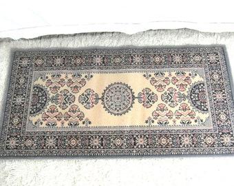Pure wool rug, 4.4 ft x 2.25 ft or 135 cm x 69 cm, blue, pink and cream Persian wool rug, blue area rug, oriental rug.