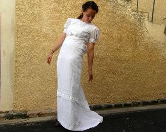 Maxi wedding dress, confirmation dress, 70's fashion, cotton, size S, boho wedding dress, vintage clothing, retro clothes, French vintage.