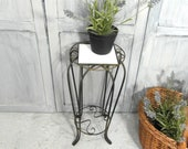 Small metal side table, plant stand, French twisted iron plant stand