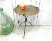 Small metal foldable table, Moroccan brass tray table