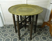 Moroccan brass tray folding table 21 quot or 53 cm