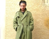 French military trench coat, army trench coat size M, khaki green trench, vintage clothing, retro clothes, gift for him.