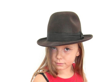 Chocolate brown 50's felt trilby, pork pie hat, made by Mossant, Paris, US size 7 or 56 cm, vintage clothing, gift for him, felt fedora hat.