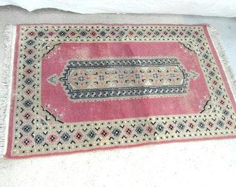 """Handmade Pakistani wool rug, 4.3 ft x 2.6 ft or 132 cm x 81 cm, pink """"rose"""" Persian wool rug, pink area rug, oriental rug."""