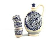 Vintage stoneware pottery bottle and shot glasses, ceramic bottle