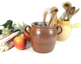 Glazed stoneware pot, French confit pot, brown earthenware kitchenware, French vintage, stoneware utensil holder, French country decor
