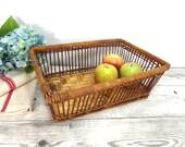 Vintage bamboo basket, wall hanging basket