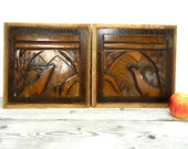Pair of wooden sculpted panels, architectural salvage, antique salvage, wall decor, French antiques.