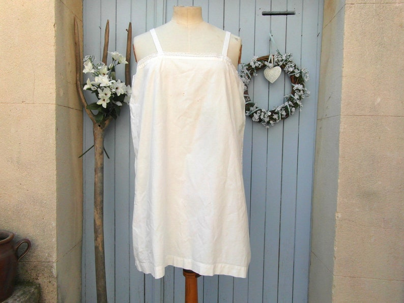 e9622c630be Antique white cotton and lace nightie nightgown plus size