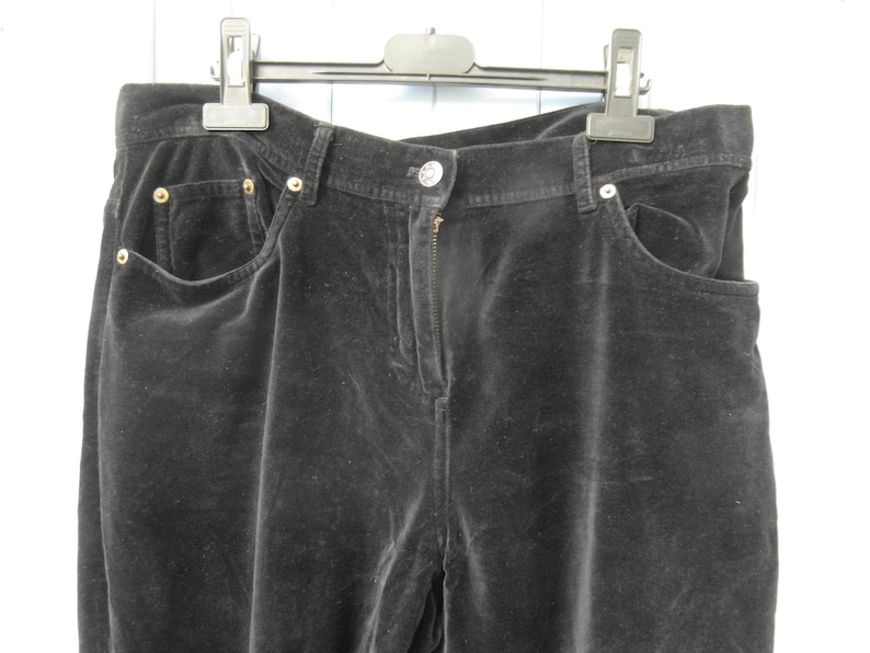 vintage clothing made in France by Wrap size M  L Black velvet trousers