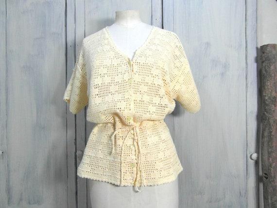 Handmade crochet cardigan top, off pastel yellow c