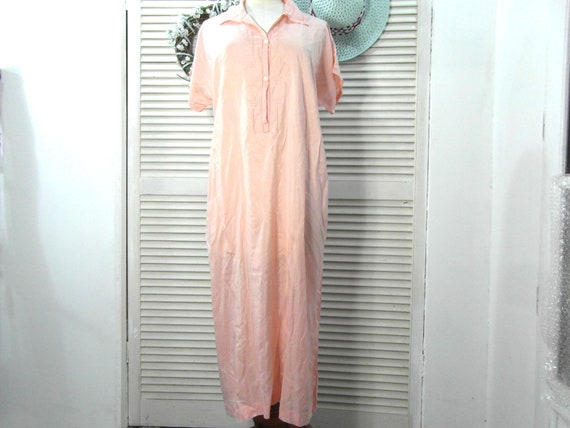 Pink silk night gown, size M / L, French lingerie.