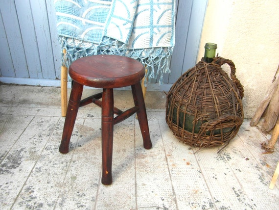 Pleasing Small French Vintage Wooden Stool 4 Legged Stool Round Stool French Country Decor Onthecornerstone Fun Painted Chair Ideas Images Onthecornerstoneorg