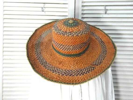 Wide brimmed African straw hat