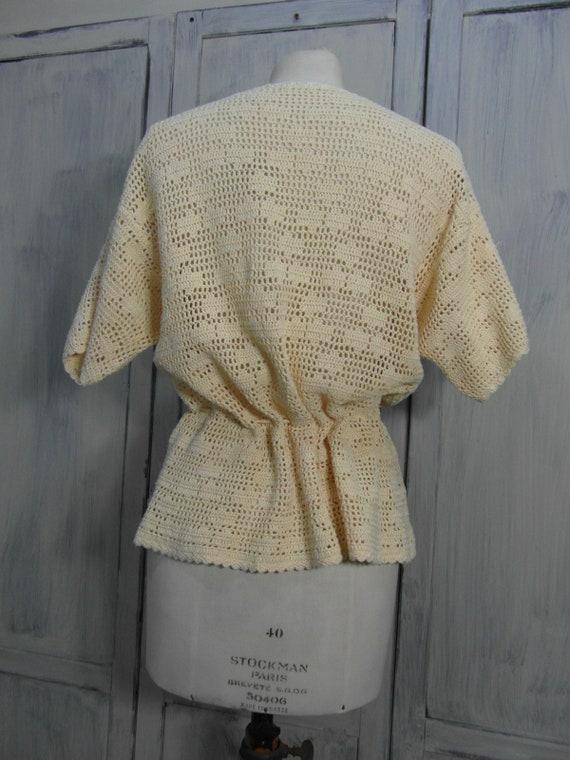Handmade crochet cardigan top, off pastel yellow … - image 8