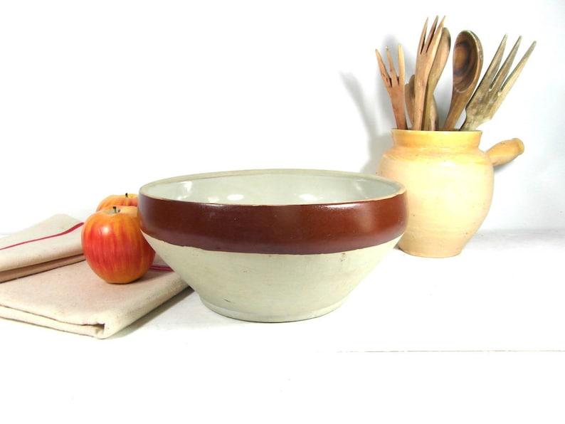 French vintage pottery bowl Large stoneware mixing bowl