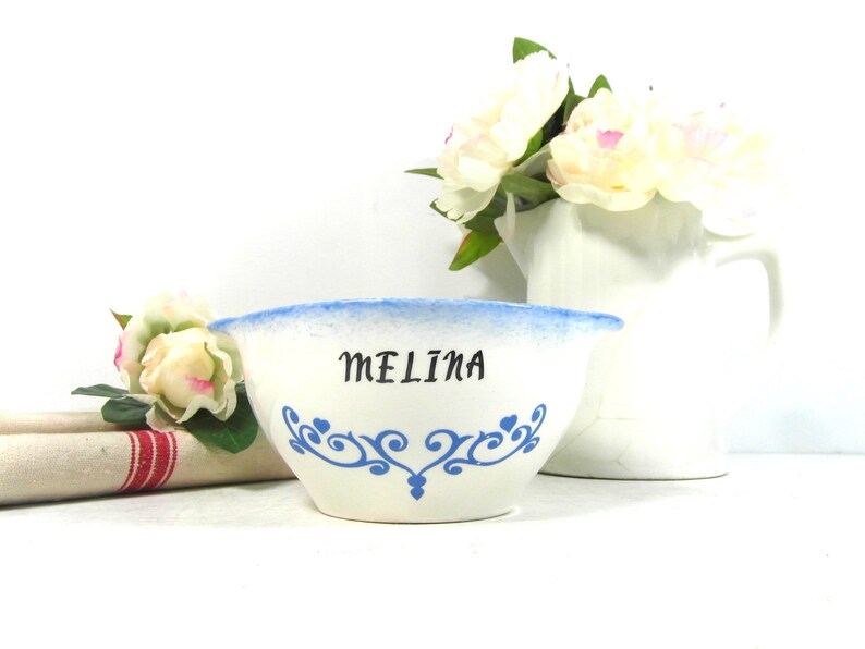 blue pottery bowl personalised cafe au lait bowl Ceramic breakfast bowl