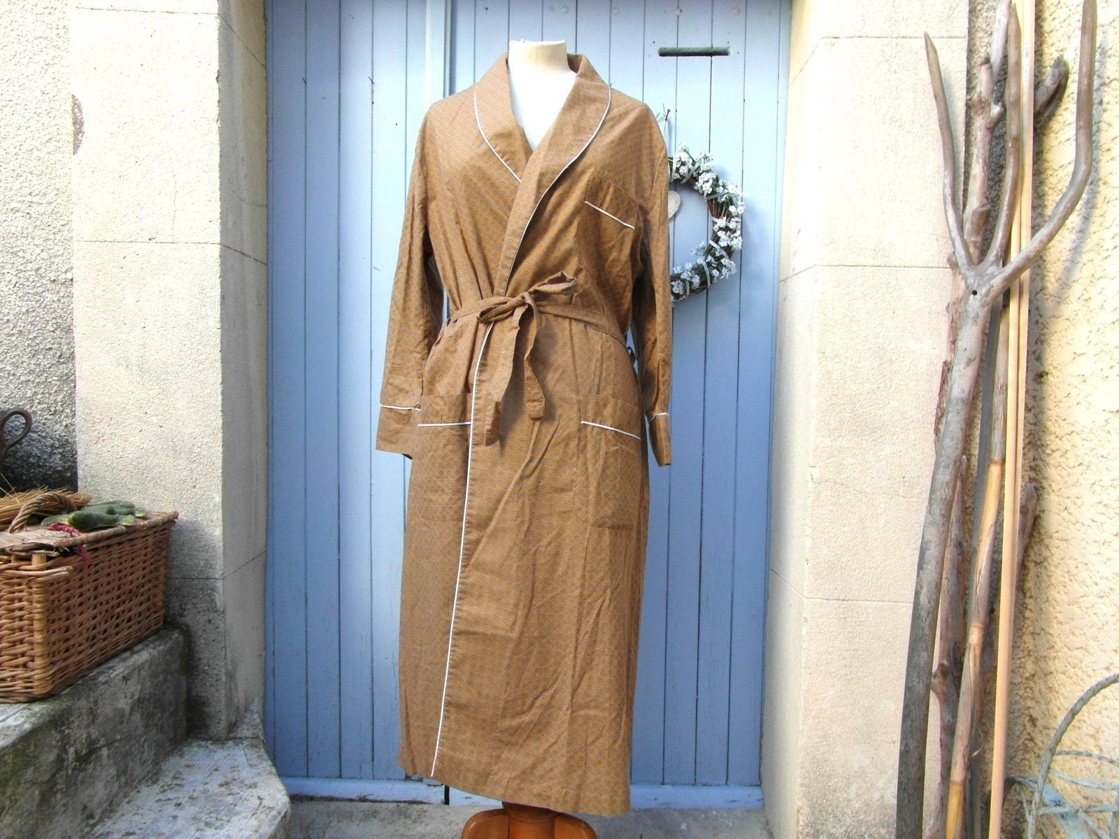 Robe de chambre L, taille L, chambre moutarde, bleu, noir et blanc. Vintage. 4a5be0