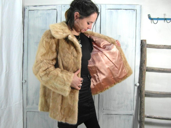 Real fur vintage mink swing jacket