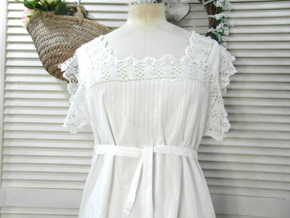 French antique cotton nightdress, size S