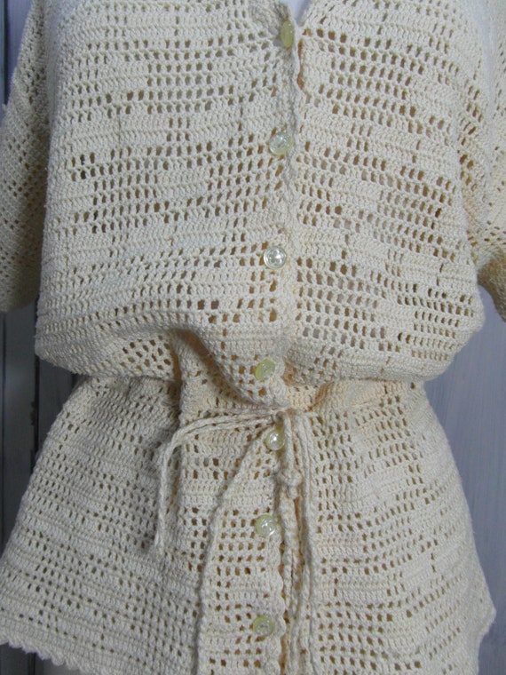 Handmade crochet cardigan top, off pastel yellow … - image 6