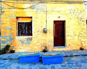 Fine art print photography : Greek yellow house, Greece photography, door photography, Greece print, wall decor, Mediterranean decor.