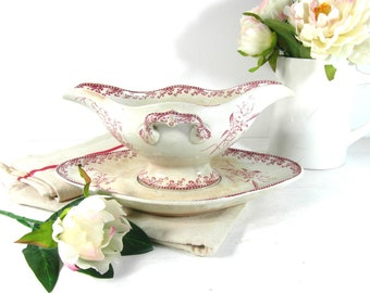 French vintage gravy boat, sauce dish, French antiques, French country decor, FF Pexonne sause boat, tea stained ironstone transferware.