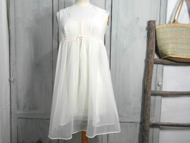 1fddc3d3346 60 s babydoll nightie Romantic nylon negligee size S   M