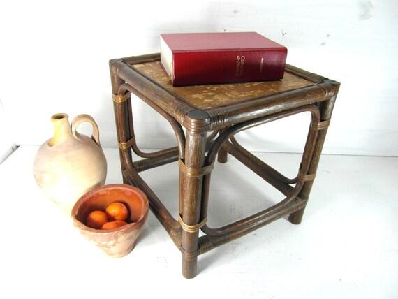 Vintage Wicker Rattan Table Wicker Side Table Bedside