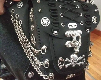 Black Leather Gothic Skull & Chain One-Of-A-Kind Hip Bag
