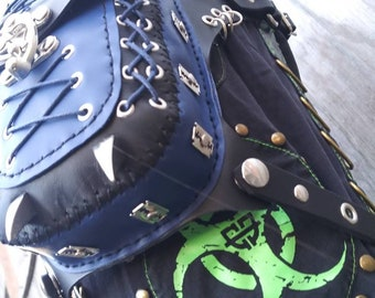 black and blue gothic claw hip bag it's one of a kind
