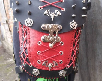 A red and black gothic hip bag with a corset style look it's a one-of-a-kind bag