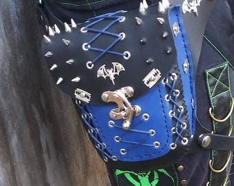 Black and blue gothic spike hip bag it's a one of a kind bag