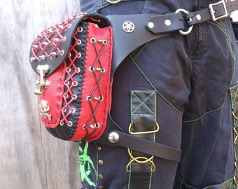A red and black Gothic spikes hip bag it is a one-of-a-kind bag