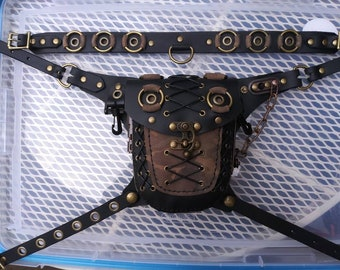 A Black and Camo post-apocalyptic hip bag that's one of a kind