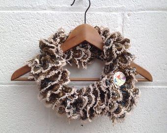 knitted beige scarf,ladies, gift for ladies , Christmas  beige, brown  with flower button, collar, scarflette, neckwarmer , necklet