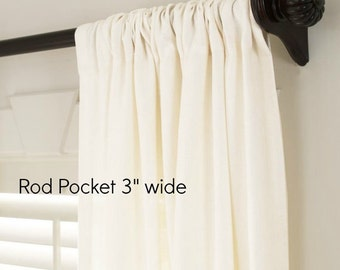 COM drapes,  unlined, rod pocket flat panels, customers own material