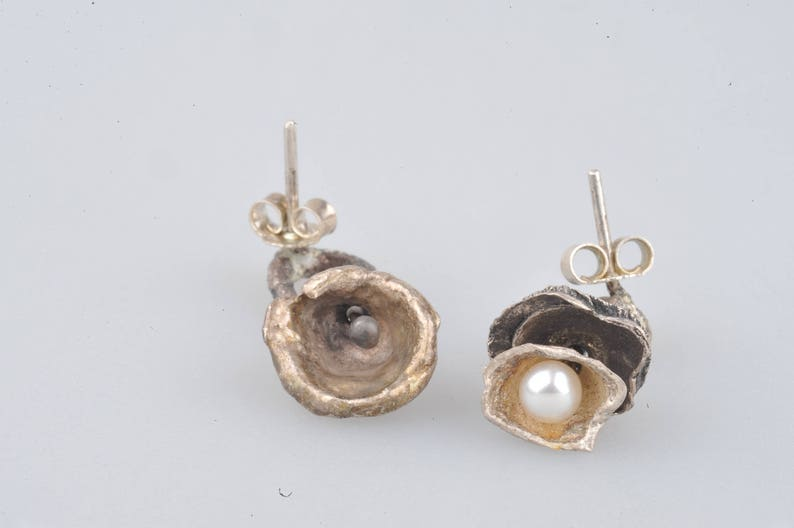 Ocean earrings pearl reticulated one of a kind asymetrical earrings oxidised recycled sterling silver