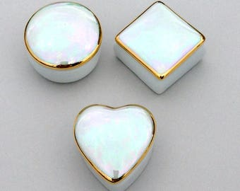 Iridescent White Engagement Ring Box - Porcelain Covered Trinket Box for Sorority Pin, Wedding Table Favors, Cremation Ash Keepsake Holder